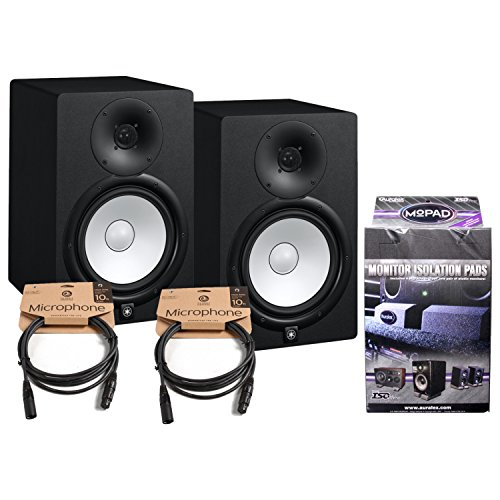 Pair of Yamaha HS8 Studio Monitors w/ (2) 10' XLR Cables and MoPad Monitor Pads by Yamaha