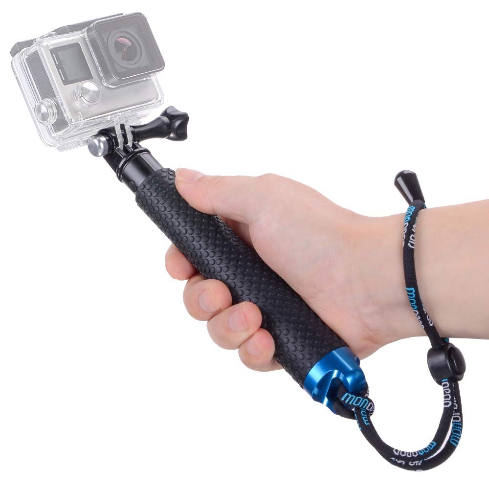 Vicdozia Portable Hand Grip Waterproof Extension Selfie Stick Handheld Monopod Adjustable Pole Compatible with GoPro Hero(2018) Hero 8 7 6 5 4 AKASO SJCAM DJI OSMO Action and More Sports Cameras by Vicdozia