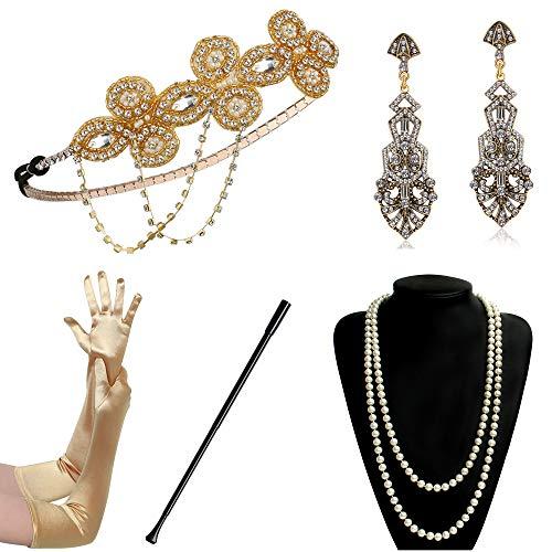 BABEYOND 1920s Flapper Accessories Gatsby Costume Accessories Set 20s Flapper Headband Pearl Necklace Gloves Cigarette Holder (Set-120) ()