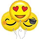 Smile, Love, Too Cool Assorted Emoji Mylar Balloon 3pk