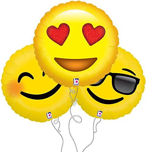 Smile, Love, Too Cool Assorted Emoji Mylar Balloon 3pk