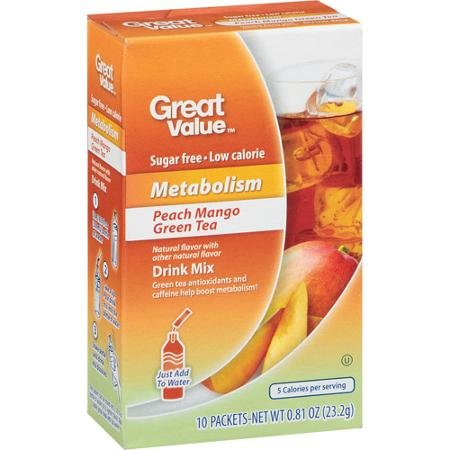 Great Value Metabolism Peach Mango Green Tea Drink Mix, 10ct (Pack of -