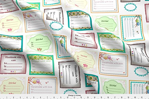 Spoonflower Labels Fabric Quilt Labels by Kerryn Printed on Kona Cotton Ultra Fabric by The Yard