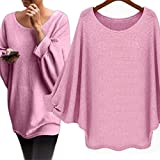 Women Blouse,Haoricu Fall Women Oversized Batwing Pullover Loose T shirt (S, Pink)
