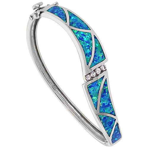 Sterling Silver Synthetic Blue Opal Bangle Bracelet Women CZ stones 7.25 inch wrists