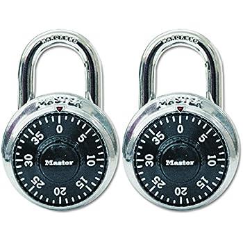 Master Lock Padlock, Standard Dial Combination Lock, 1-7/8 in. Wide, Black, 1500T (Pack of 2)