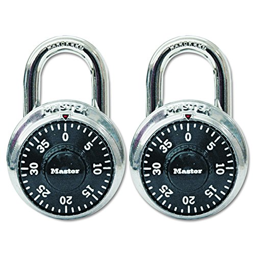 Master Lock Padlock, Standard Dial Combination Lock, 1-7/8 in. Wide, Black, 1500T (Pack of 2)