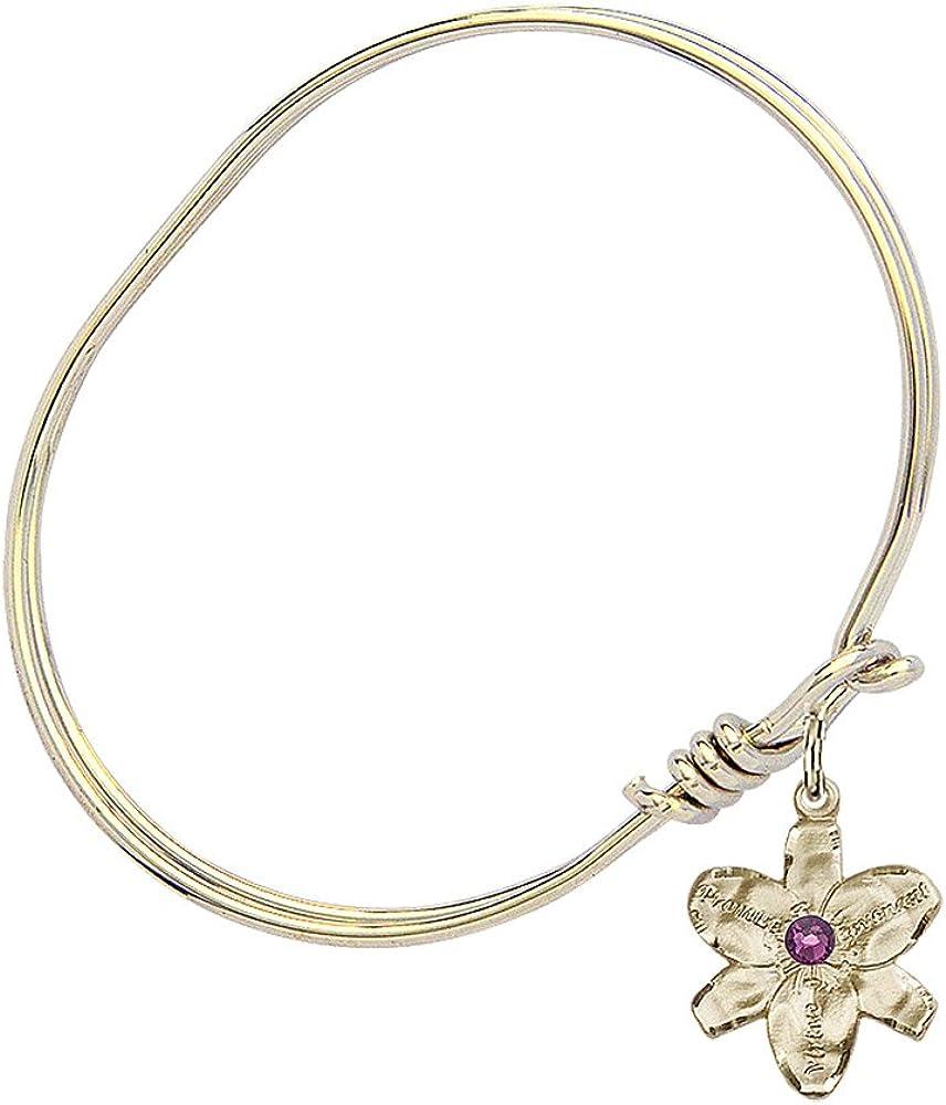 Catholic Saint Medals Chastity Charm On A 6 1//4 Inch Oval Eye Hook Bangle Bracelet
