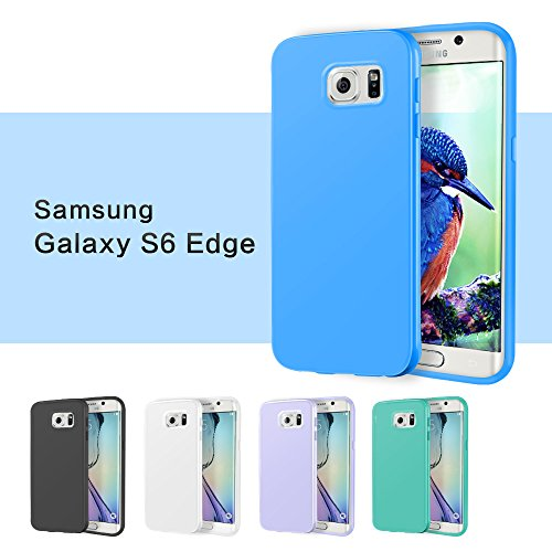 Galaxy S6 edge Case, 5 Pack Ace Teah™ Protective Cover Flexible TPU Scratch Resistant Scratch Dust Proof Colorful Cell Phone Case for Samsung Galaxy S6 edge - Black, White, Purple, Cyan, Blue