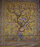 Tree of Life Tapestry Cotton Bedspread 108'' x 88'' Full-Queen Olive Green