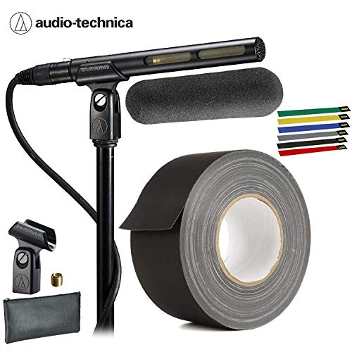 Audio-Technica AT875R Line + Gradient Shotgun Condenser Microphone for Video and Broadcast with Gaffer Tape and 6-Pack Cable Ties