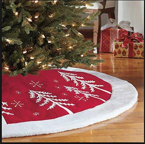 Adjustable Christmas Tree Skirt -Red and White