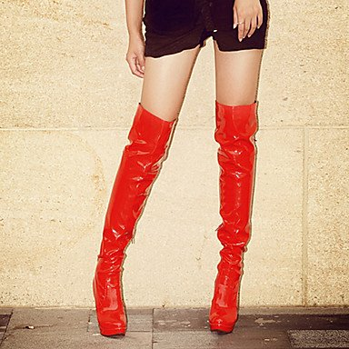 LFNLYX Mujer-Tacón Stiletto-Botas a la Moda-Botas-Fiesta y Noche-Cuero Patentado-Negro / Rojo / Blanco White
