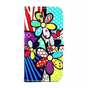 TY-Patrón de flores coloridas de la PU Leather Case cuerpo completo con el soporte y titular del dinero para el iPhone 5/5S