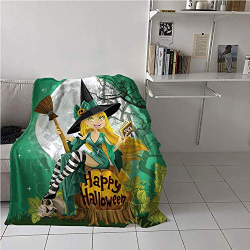 Suchashome Witch Blanket Travel,Cheerful Smiling Girl in Halloween Costume on a Pumpkin Giant Moon Woodland,Print Summer Quilt Comforter,Microfiber All Season Blanket 70