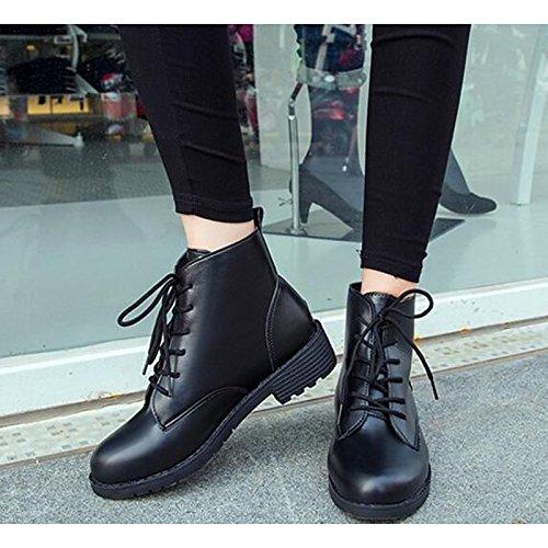 a31b9609 HSXZ Zapatos de mujer PU primavera otoño comodidad moda zapatos botas botas  de tacón plano Ronda Toe botines/botines de amarre cinta negra casual: ...