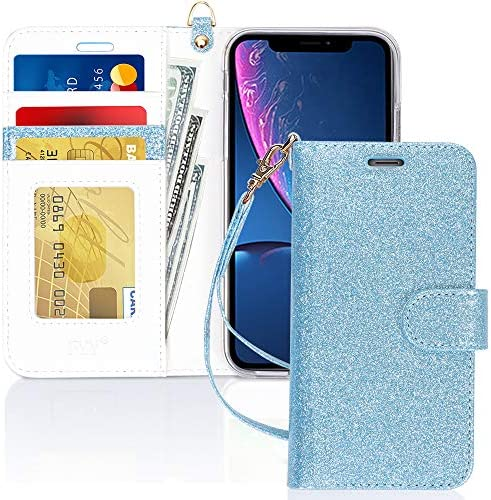 """FYY Luxury PU Leather Wallet Case for iPhone XR, [Kickstand Feature] Flip Phone Case Folio Protective Shockproof Cover with [Card Holder][Wrist Strap] for Apple iPhone XR 6.1"""" 2018 DodgerBlue"""