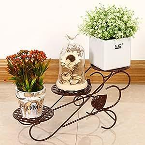 Iron Flower Floor Floor Style Living Room Balcony Flower Bed Frame 3 Shelf ( Color : Bronze )