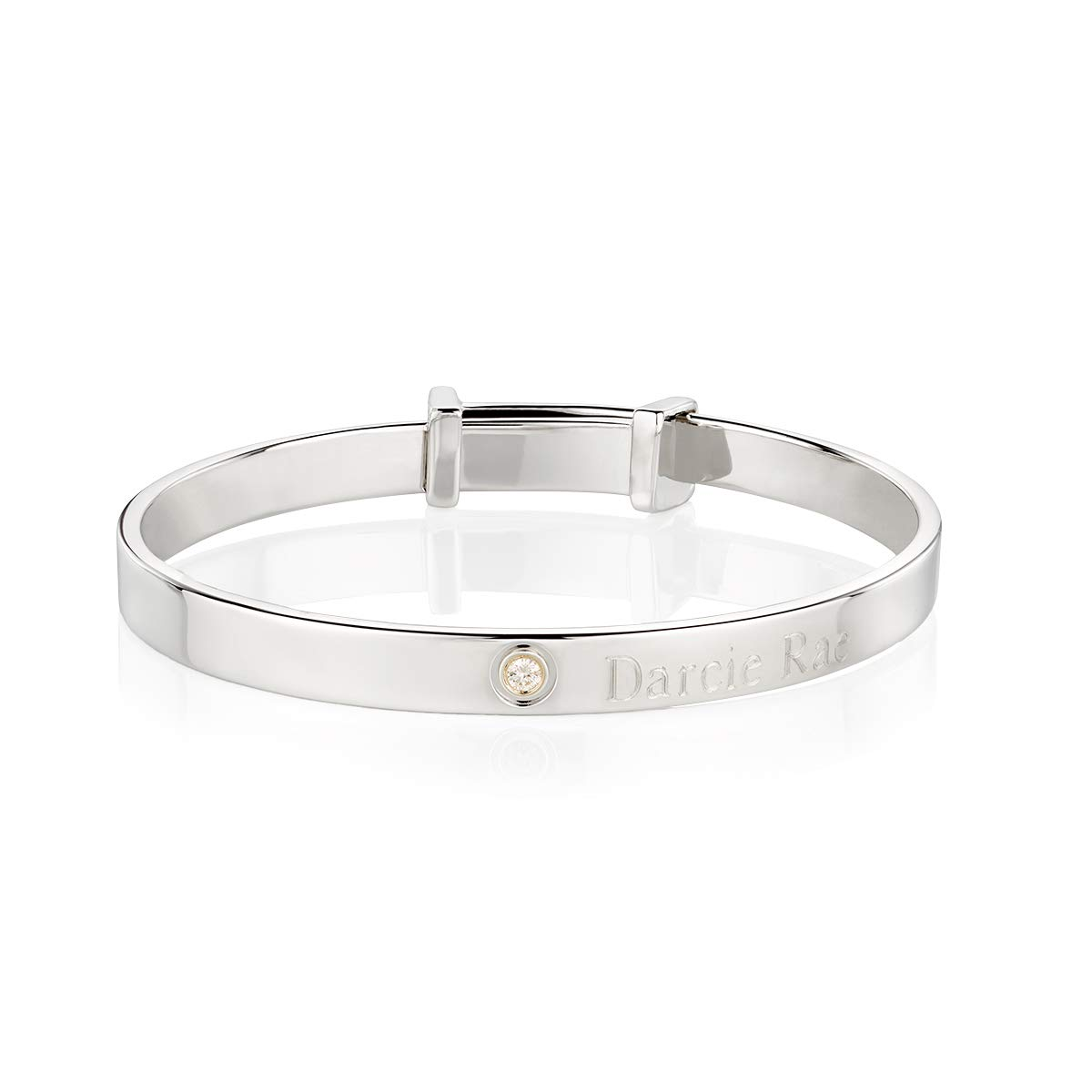 Molly B London | Personalized 925 Sterling Silver Baby's April Diamond Birthstone Baptism Bangle by Molly B London (Image #1)