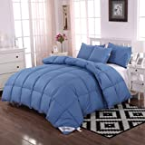 Unite Down Luxury 30% Goose Down Comforter/Quilt/Duvet All Seasons, 100% Organic Cotton Cover (Full/Queen, Blue)