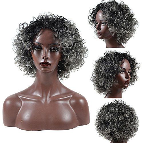 Chartsea Density Natural Hairline Women Sprial Spring Curls Kinky Curly Synthetic Lace Wig  Gray