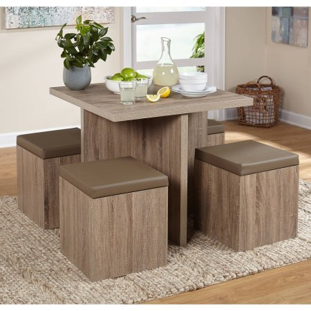 Genial 5 Piece Space Saving Dining Set, Table And Storage Ottomans, Square Shape,  Seats