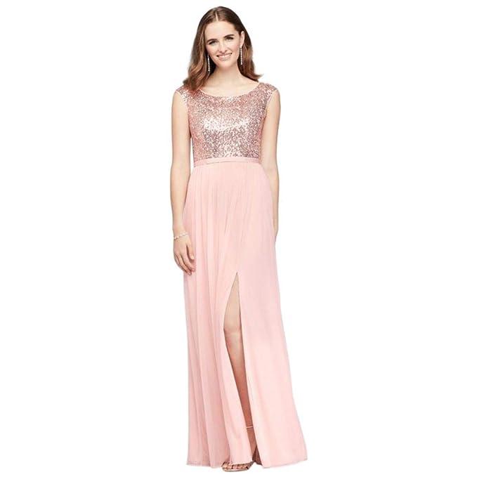 David S Bridal Sleeveless Sequin And Mesh Bridesmaid Dress