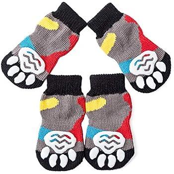 amazoncom posch pet socks dogs cats anti slip knit socks traction soles