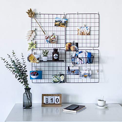 - DS Grid Photo Wall Wire Grid Panel Picture Display Iron Decorative Rack Photograph Wall ,Ins Display Photo Wall, 14x14 Inches Set of 4 (Black)