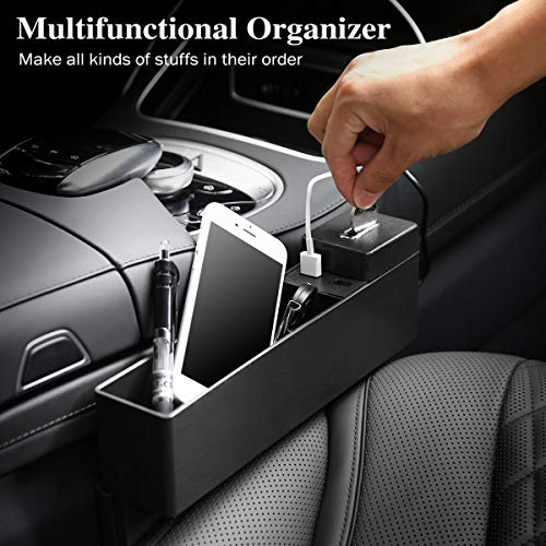 Car Console Side Organizer Crevice Multi-Functional Storage Coin Box and 2 USB Charging Hub AUTDER Car Seat Pockets with Wireless Charging Function