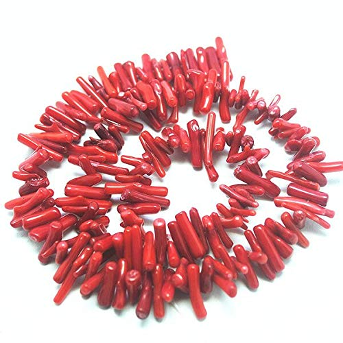 Red Coral Bracelet Chip (Calvas 3 Strings Nature Coral Chips for Charming Long Necklace or Bracelet Making with Good Quality Coral Beads Accessories Size 10-15m - (Color: Red))