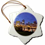 3dRose orn_94229_1 Pennsylvania Pittsburgh City Skyline Walter Bibikow Snowflake Decorative Hanging Ornament, Porcelain, 3-Inch