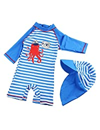 Boys One-Piece Swimsuits with Cap UPF50+ Short Sleeve Swimwear Stripped Navy Rash Guard 9-12 Month
