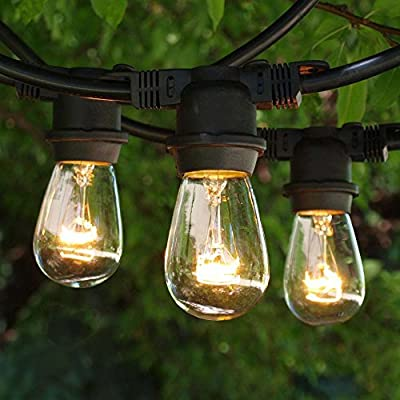 Outdoor String Lights 100 ft Clear 11S14 Bulbs Medium Base Black Cord