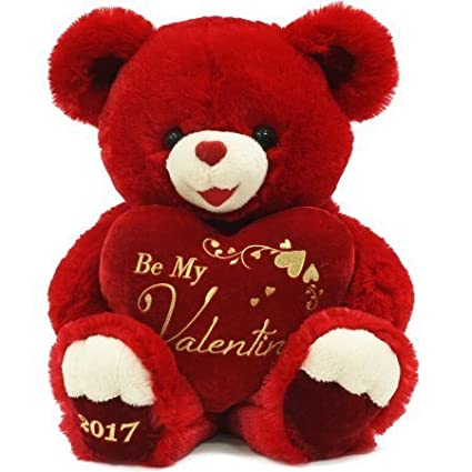 ace550ff4e7 Amazon.com  Sweetheart Teddy Ultra-Plush Valentine's Day Teddy Bear Gift  2017 - Red  Toys   Games