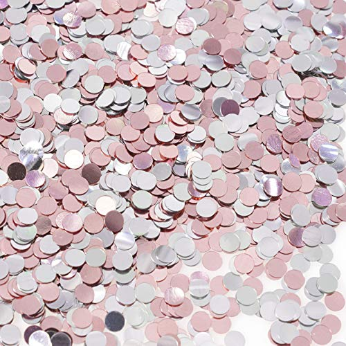 (Rose Gold Birthday Party Table Confetti - Circle Dots Foil Metallic Sequins Confetti First Birthday Baby Shower Wedding Bachelorette Party Sprinkles Confetti Decorations, 60g)