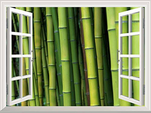 White Window Looking Out Into a Bamboo Forest Wall Mural
