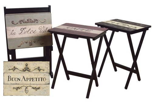 Cape Craftsman TV Tray Set with Stand, Cucina, Set of 4 (Tv Tray Set Of 4)