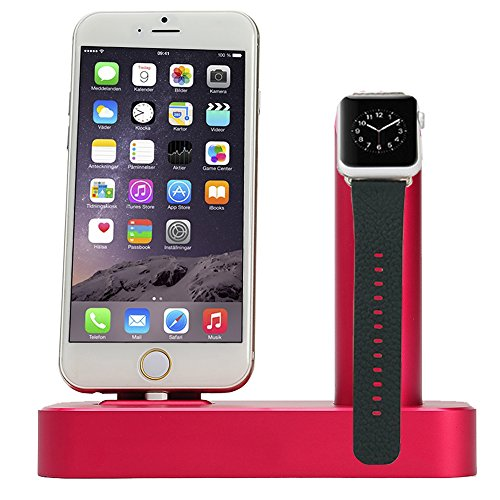2 in 1 Apple Watch Stand Lecxci Iphone / Apple Watch Stand [Dual Stand] Aluminum Made Stand Dock for Iphone6 Iphone6 Plus Iphone 5s / Apple Watch (Rose)