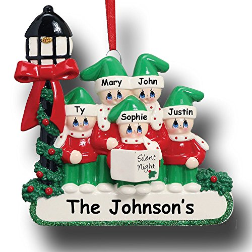 Ornament Mantle (Personalized Winter Holiday Group Family of 5 Christmas Carolers Singing Silent Night with Holly Bush and Glittered Detail Hanging Christmas Ornament with Custom Names)