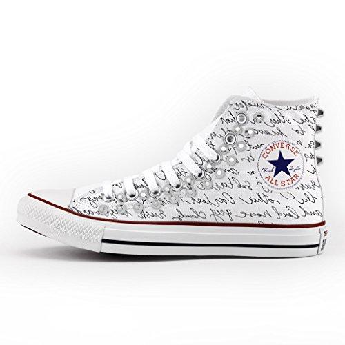 Converse Personalizzate con borchie All Star Alta - scarpe artigianali - Lettera Multicolor
