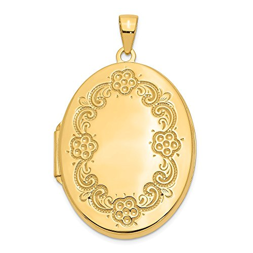14k Yellow Gold 32mm Floral Border Oval Locket ()