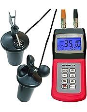 Anemómetro digital multifuncional con sensor de 3 tazas, indicador de flujo de aire portátil, indicador de velocidad del viento, indicador de dirección de la velocidad del viento