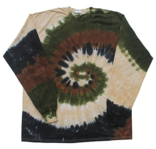 - Tie Dye T-shirts Camo Swirl Colour Long Sleeve Adult Size (X-Large)