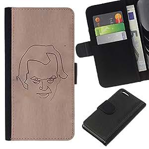 iBinBang / Flip Funda de Cuero Case Cover - Cara Bosquejo del papel de Brown Arte Lápiz - Apple Iphone 5C