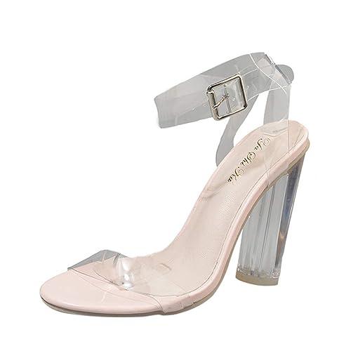 Sandali Estivi Donna con Tacco Peep Toe Elegante Sexy Moda Una Parola con  Tacco Spesso Trasparenti 05ad247c7a8