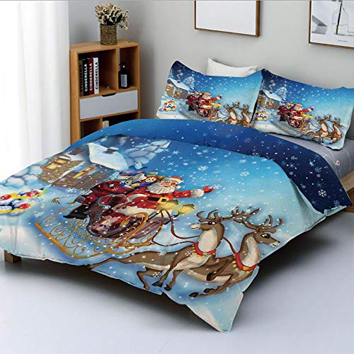 Duplex Print Duvet Cover Set Full Size,Santa in Sleigh with Reindeer and Toys in Snowy North Pole Tale ImageDecorative 3 Piece Bedding Set with 2 Pillow Sham,Navy Blue,Best Gift for Kids & Adult