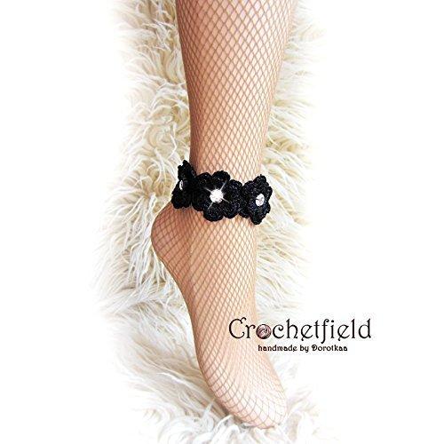 e5d04c7a8da3d Pair of Crochet RHINESTONE flowers Anklet, barefoot sandals, Nude shoes,  legjewelry, leg chain, leglet
