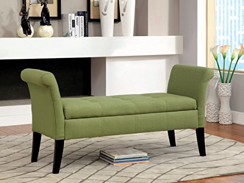 Furniture of America Gracelle Upholstered Accent Bench with Storage, Green