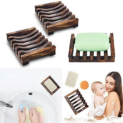 ♛Euone Natural Wood Soap Dish ♛Clearance♛, 2 Piece Bathroom Wooden Soap Case Holder Sink Deck Bathtub Shower Dish Soap Box